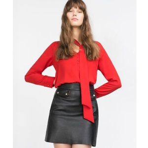 ZARA Red Neck Tie Button Front Long Sleeve Blouse